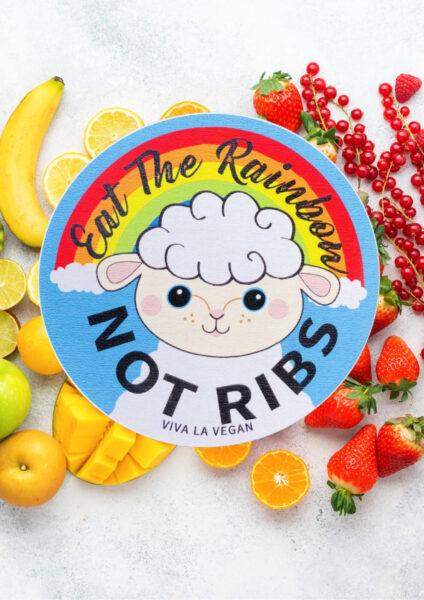 Eat The Rainbow Not Ribs vinyl sticker by eco ethical brand Viva La Vegan