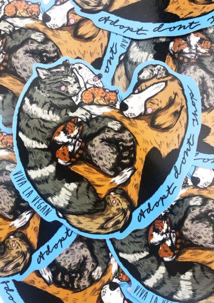 adopt don't shop vinyl stickers from Viva La Vegan