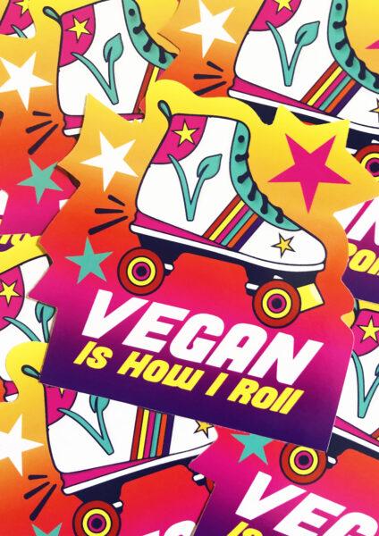 Vegan skater sticker by Viva La Vegan