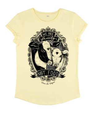 Family Not food Tshirt in Pale Lemon by Viva La Vegan