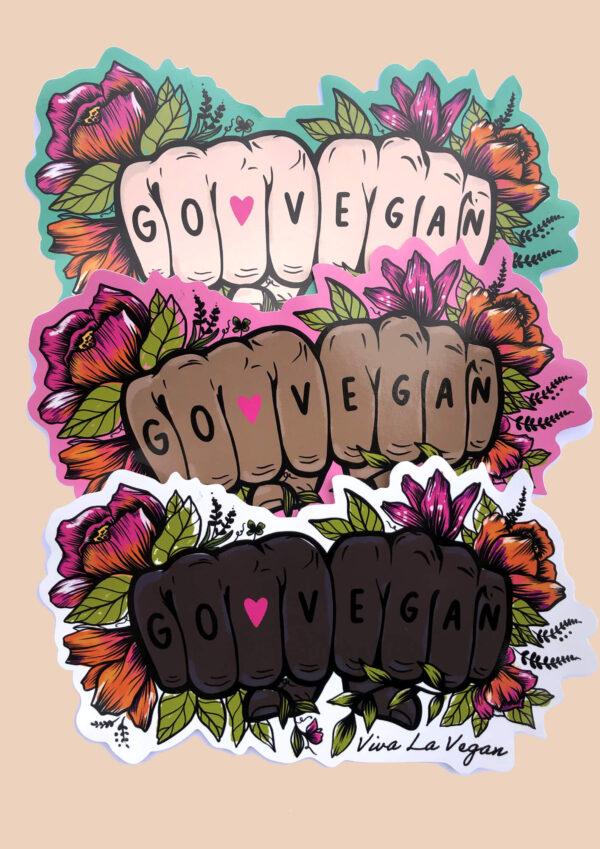 Go Vegan Tattoo Hands Vinyl Stickers by Viva La Vegan
