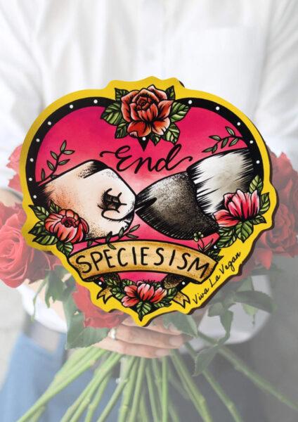End Speciesism shaped magnet by Viva La Vegan