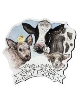 Friends not food shaped vegan magnet by Viva La Vegan