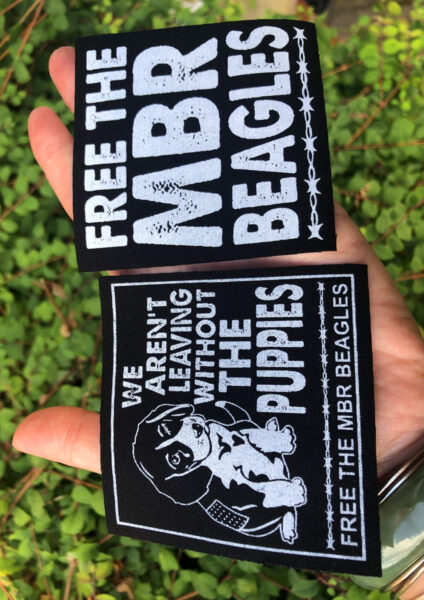 Free the MBR beagles sew on patches. Official merch by Viva La Vegan