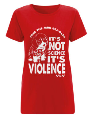 Ladies Tshirt, Free the MBR Beagles @Its not science its violence. Red
