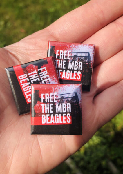 25mm square badge. Free the MBR Beagles Official Merch